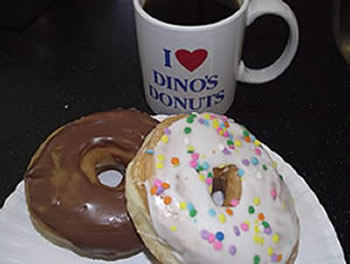 dinos donuts and a coffee